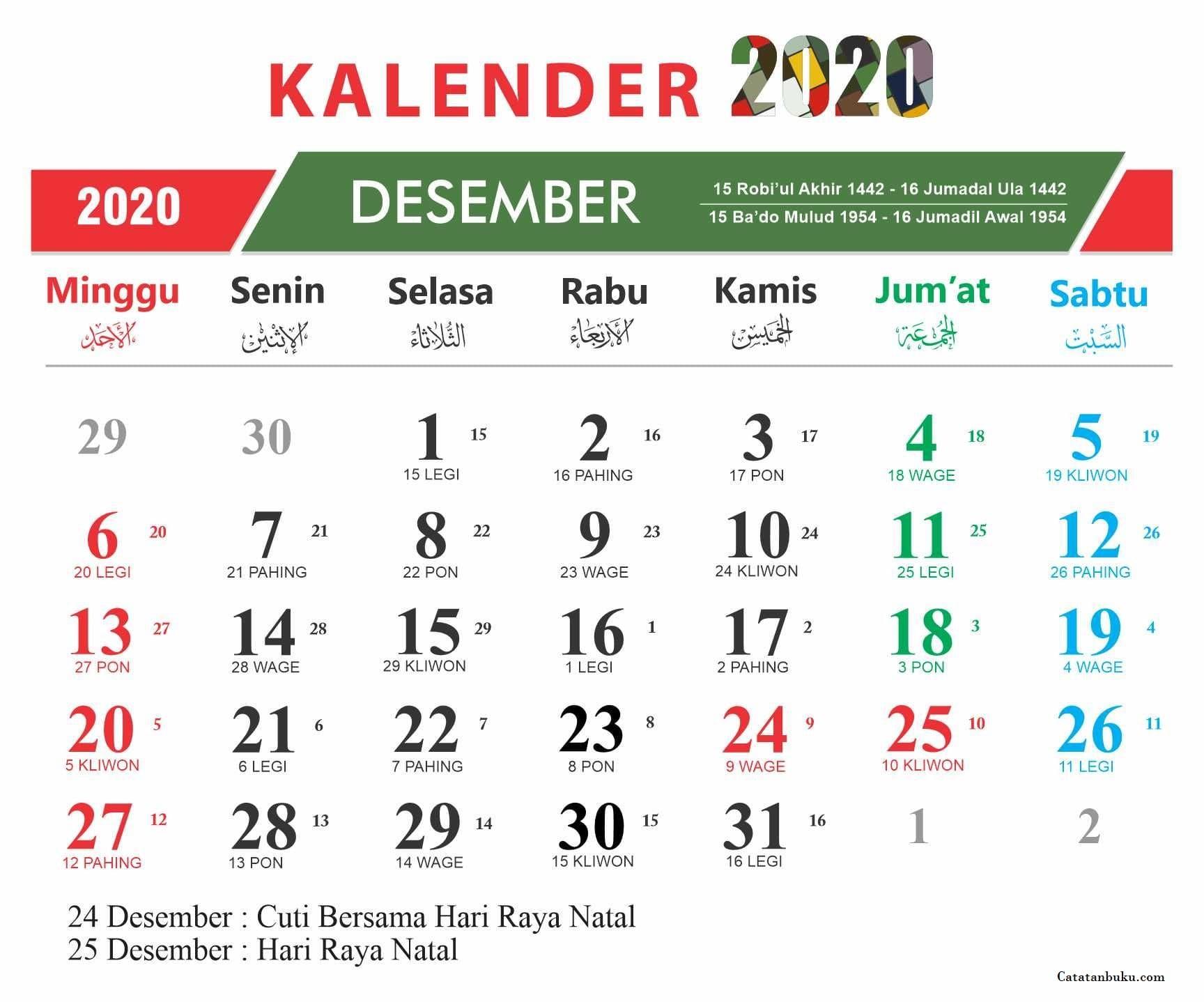 Kalender Bulan Desember 2020 Nasional dan Jawa - Kuti ID